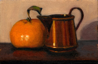 Oil painting of a small copper jug beside a mandarine.
