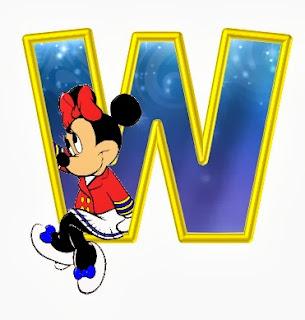 Alfabeto de personajes Disney con letras grandes W Minnie.