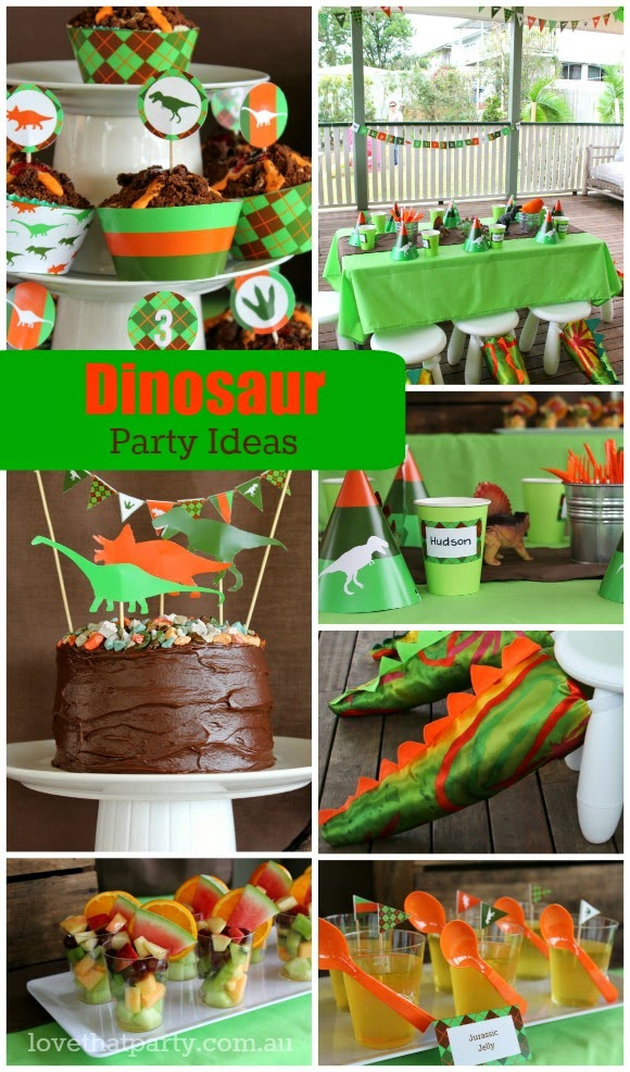 dinosaur birthday party decorations and printable party supplies for boy's party ideas, cake, cupcake, dinosaur tails party styling planning