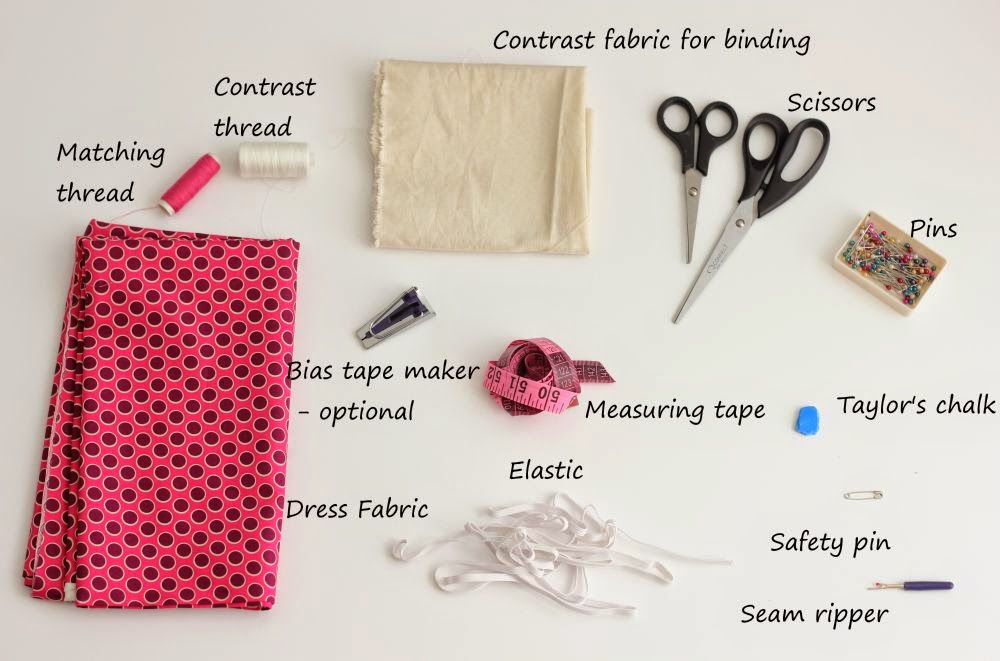 Mela summer dress sewing supplies