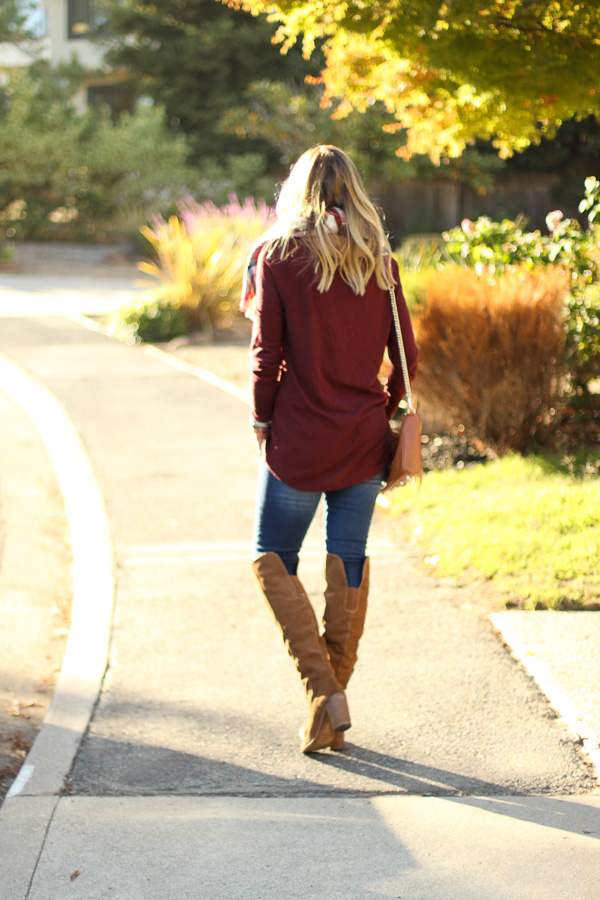 burgundy sweater top skinny jeans over the knee boots