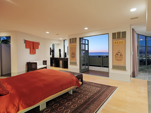 Photo of modern bedroom with the view of Los Angeles