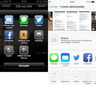 A gauche, l'iOS 6. A droite, l'iOS 7.