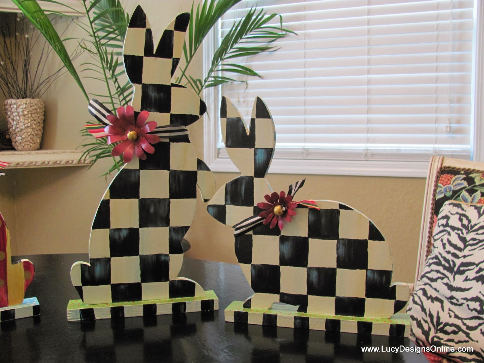 Easter black and white checked bunny rabbits decor