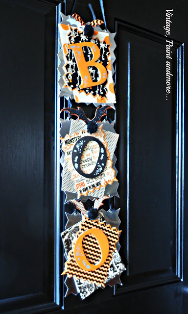 Vintage, Paint and more... DIY Boo sign constructed of scrapbook paper