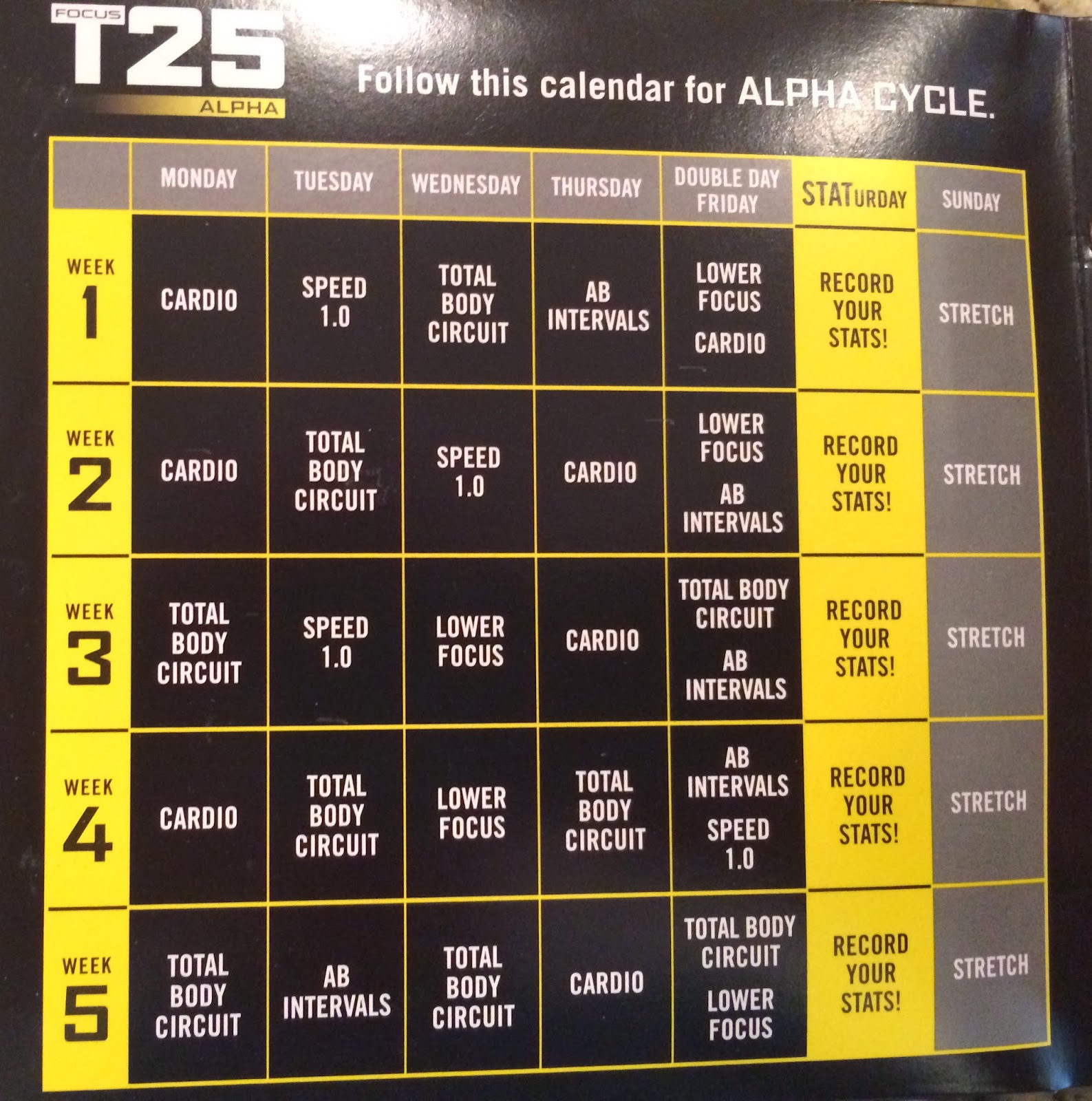 focus t25 beta schedule Your focus t25 workout schedule is below we have typed it all in for so you can print it out or download the workout now enters the next phase of focus 25 which is the beta cycle at this point you have been working your butt off for 5 weeks and eating right.