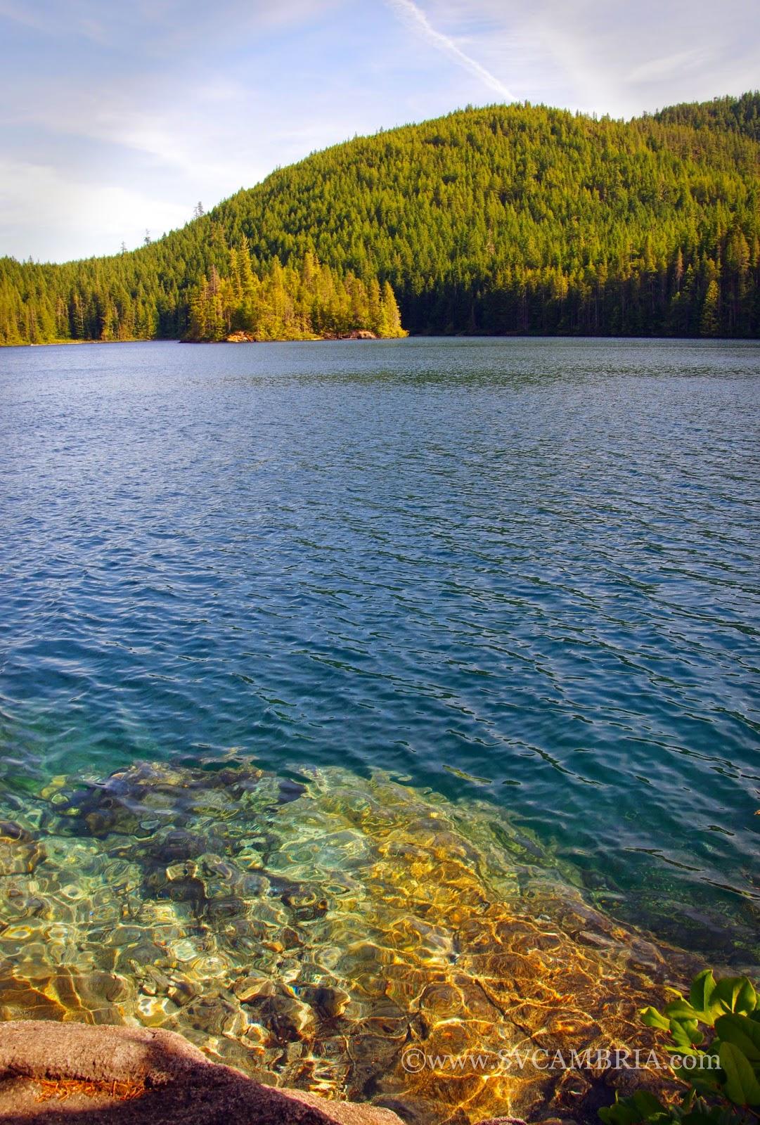 The bathing rocks at Newton Lake, Quadra Island.