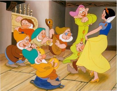 Imagen: Blancanieves bailando con los 7 enanos