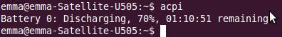Imagen de un ejemplo de uso de acpi en Ubuntu 10.10