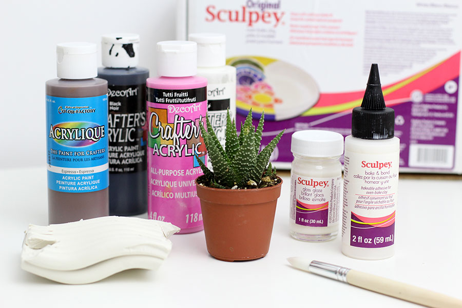 Materials to make a clay planter.