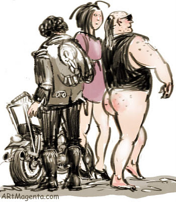 The biker version of The Emperor's New Clothes is a caricature by artist and illustrator Artmagenta