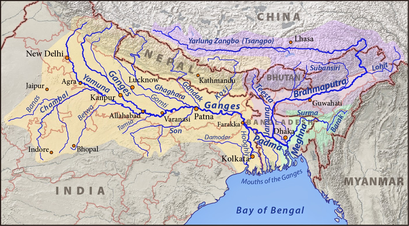 the main rivers of the himalaya both the ganges from the west and the brahmaputra from the east all drain through bangladesh