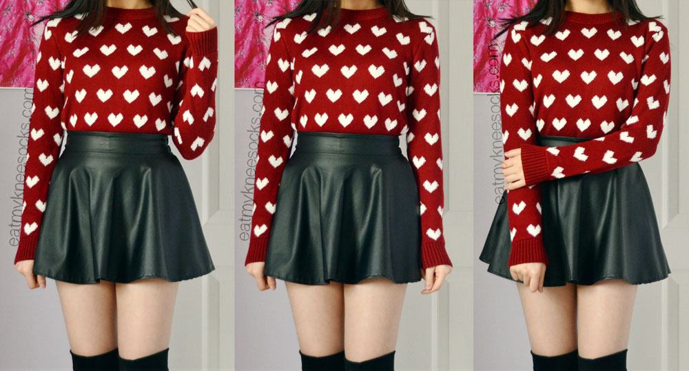 Pair the wine red heart sweater from Sweetbox Store with a flared skater skirt and boots for a mid-season look.
