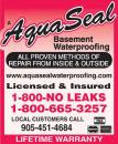 Aquaseal Basement Foundation Concrete Crack Repair Specialists Brampton 1-800-NO-LEAKS