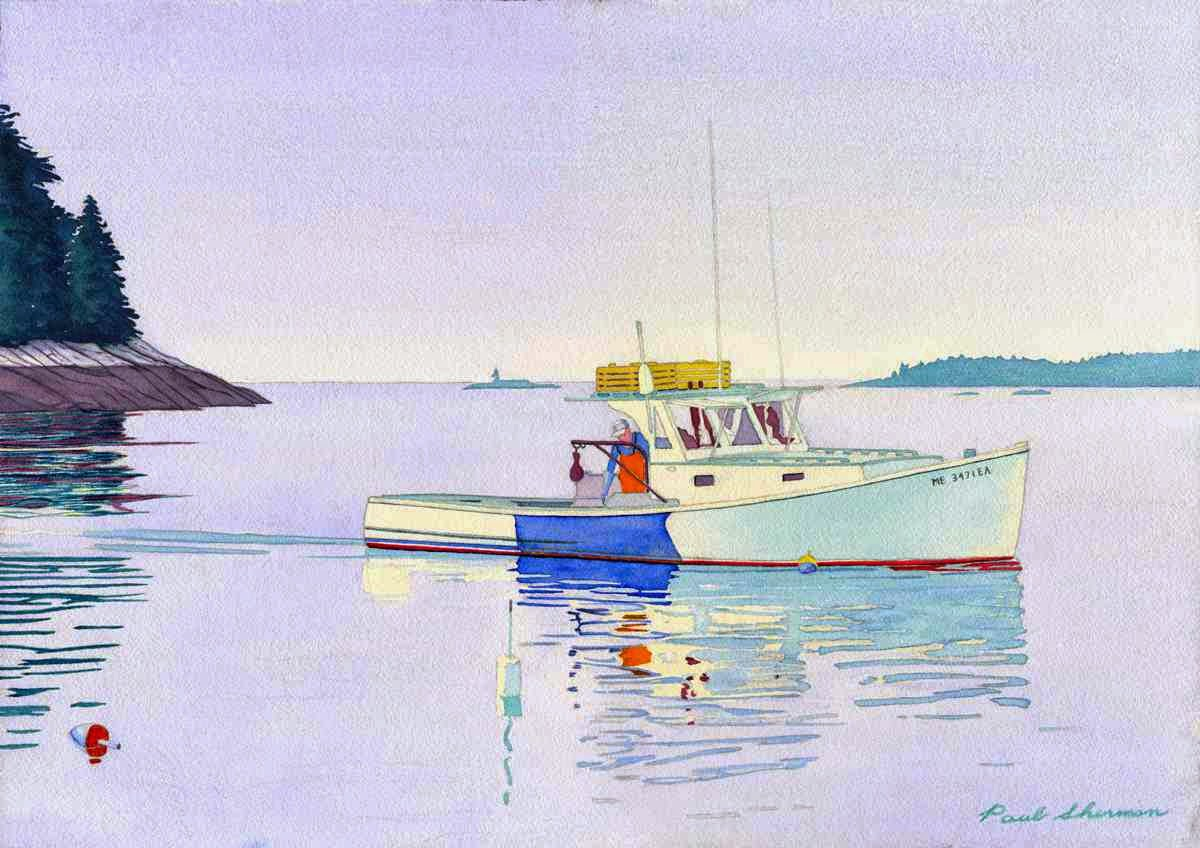 "Lobster Boat Calm Day - Watercolor 14"" x 20"""