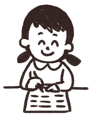 授業中の女子小学生のイラスト 白黒線画