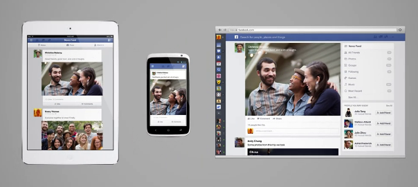 Facebook new News-feed for mobile tablet and desktop