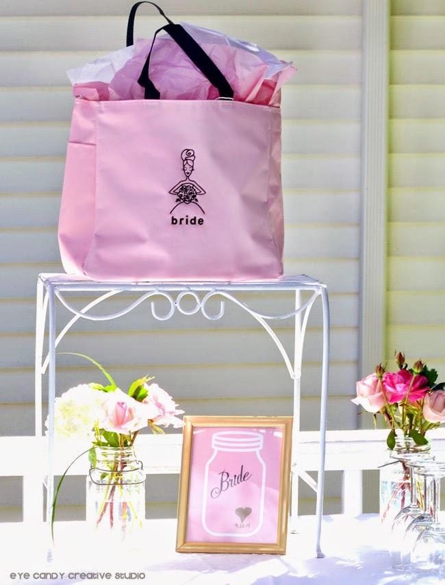 bride bag, luncheon for the bride, blush & gold, burlap, decor