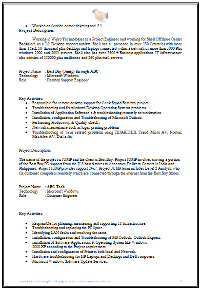 technical resume template desktop support resume sample desktop ...