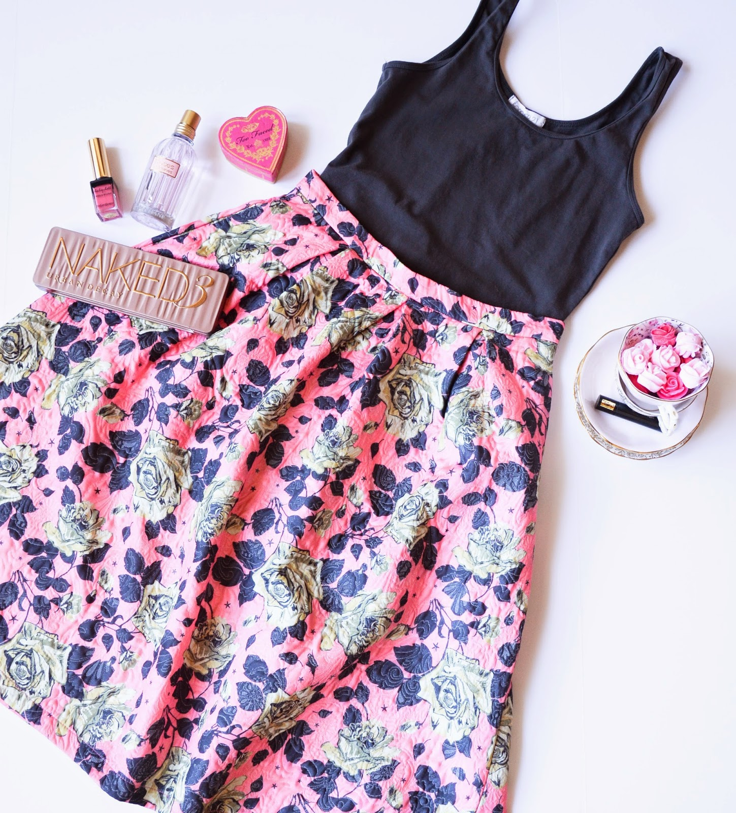 Pink and gray floral midi skirt from forever 21, paired with gray top