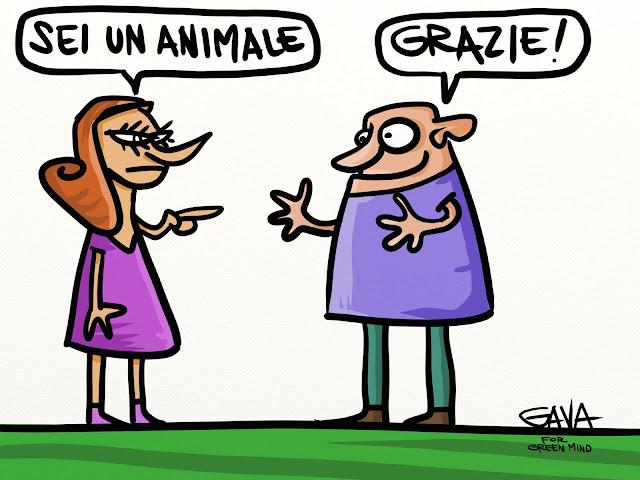 gavavenezia gava vignette illustrazioni caricature ridere piangere pensare satira  ecologia lav vivisezione diritti vegani vegetariani animale grazie complimento rossa calvo viola green mind