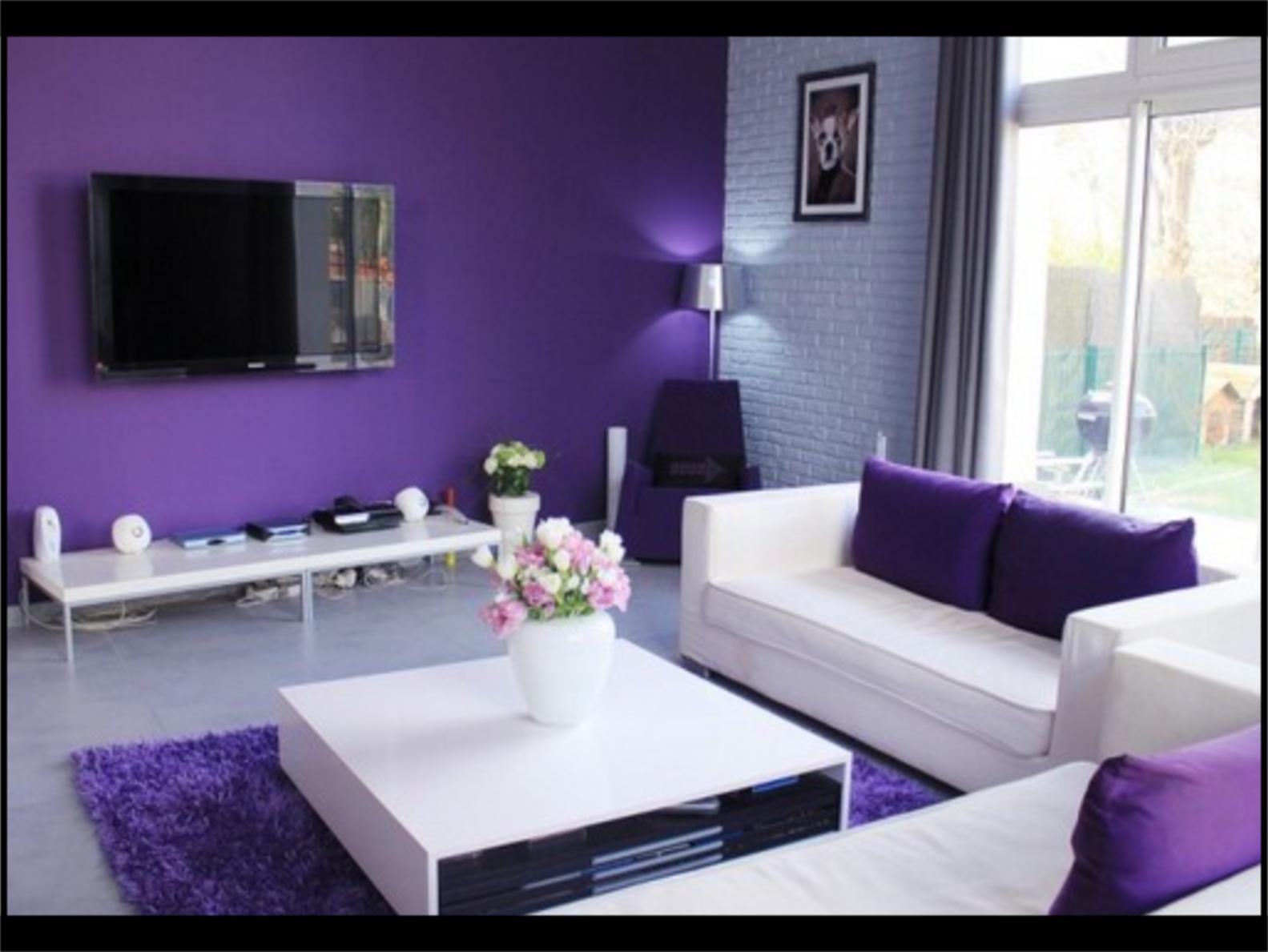 Gambar Foto Interior Rumah Minimalis Cat Warna Ungu Kombinasi