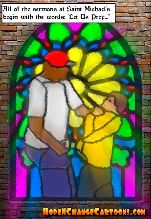 obama, obama jokes, political, humor, cartoon, conservative, hope n' change, hope and change, stilton jarlsberg, ferguson, michael brown, police, hands up, stained glass