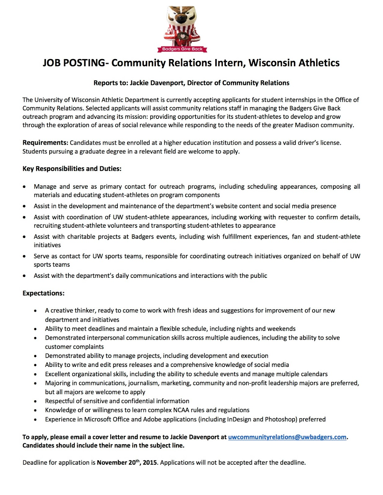Sports Business Club at UWMadison JobInternship Opportunities – Intern Job Description