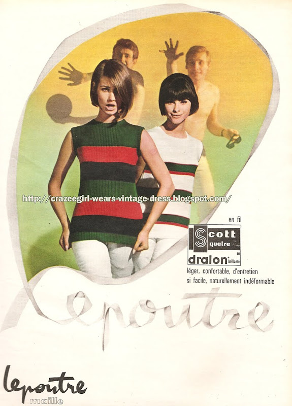 Maille et jerseys Lepoutre - 1965 striped knit top 60s 1960 mod