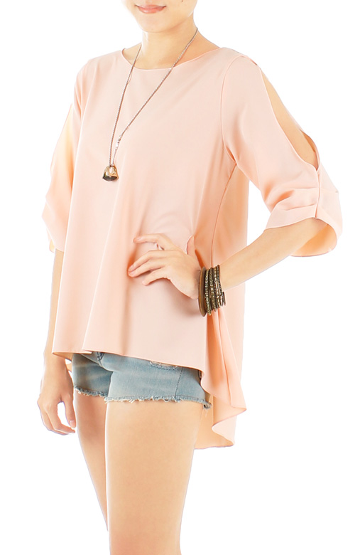 Light Pink Sunlight Seeker Dip Back Blouse