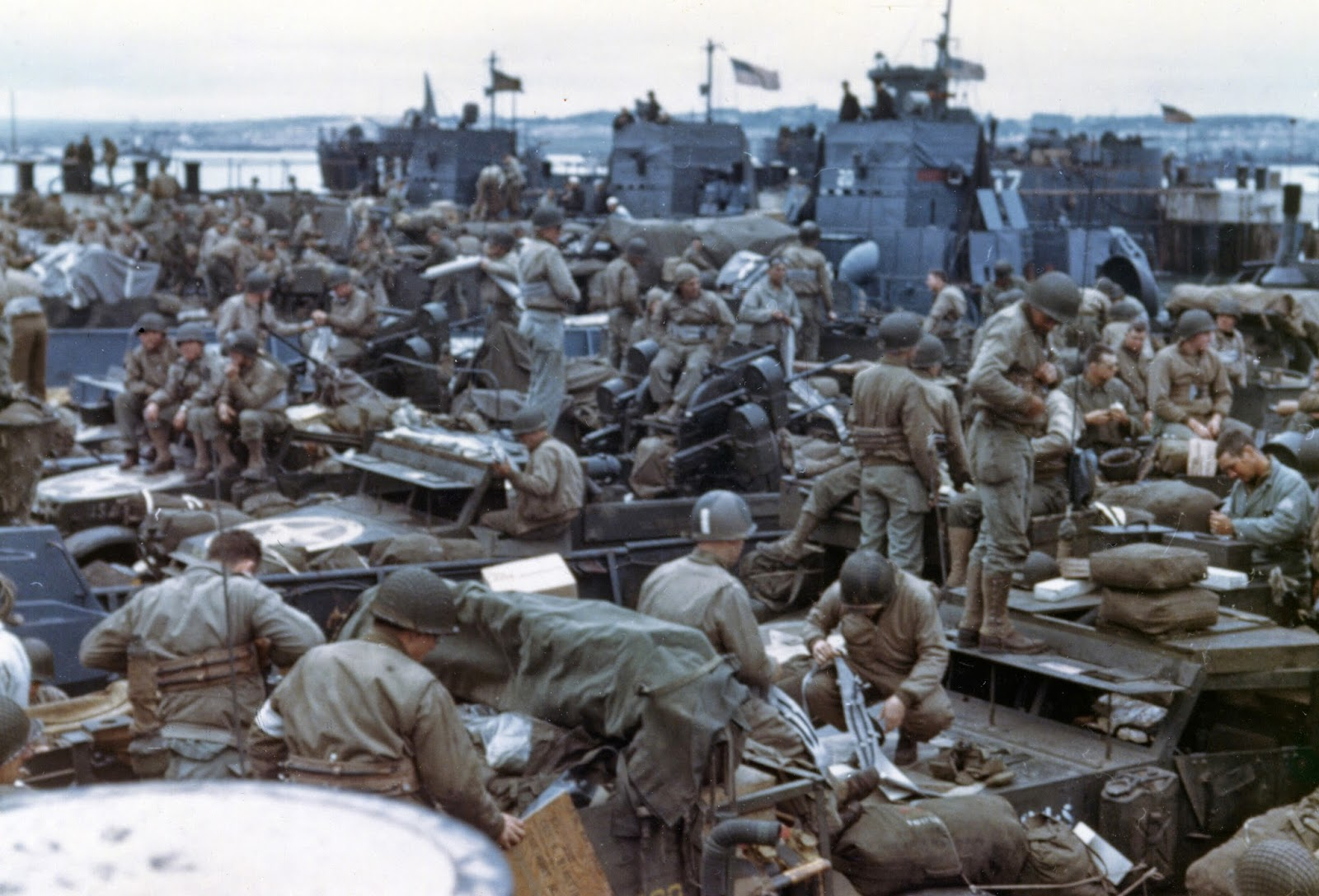 D Day In Color Men and equipment are massed