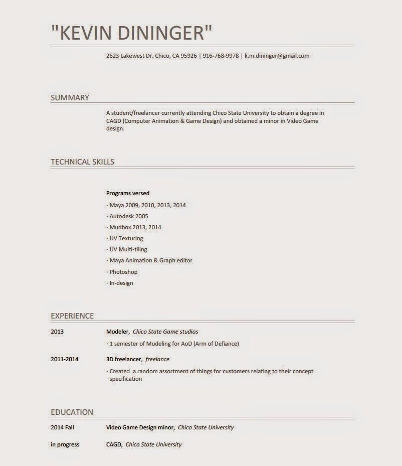 kevin dininger 3d modeler design artist
