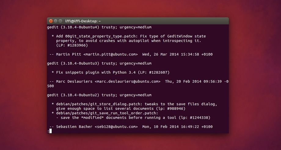 Ubuntu apt-get changelog