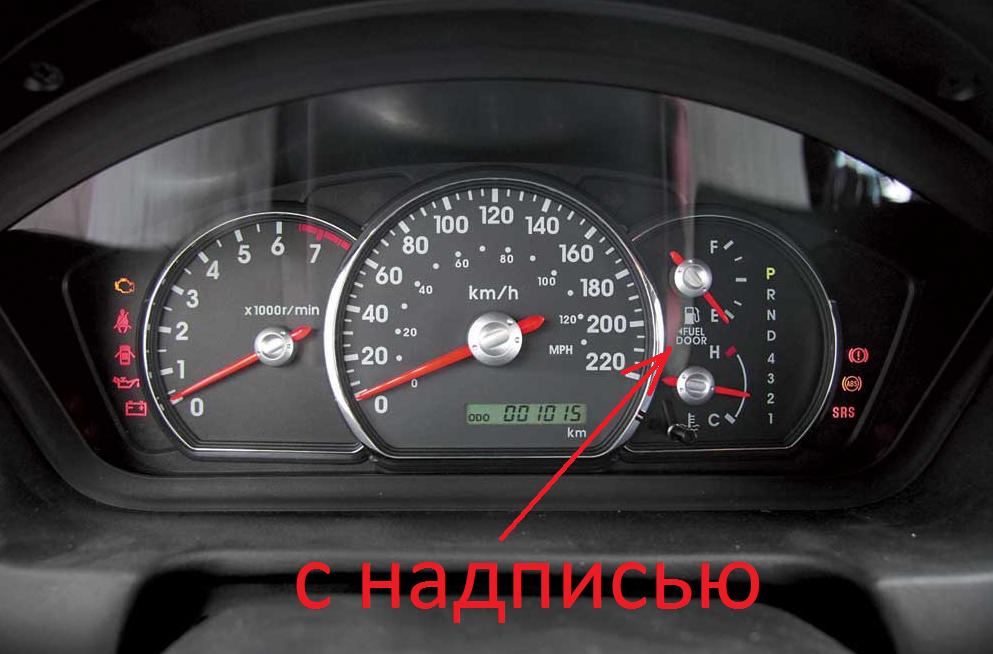на панели указано с какой стороны крышка бензобака