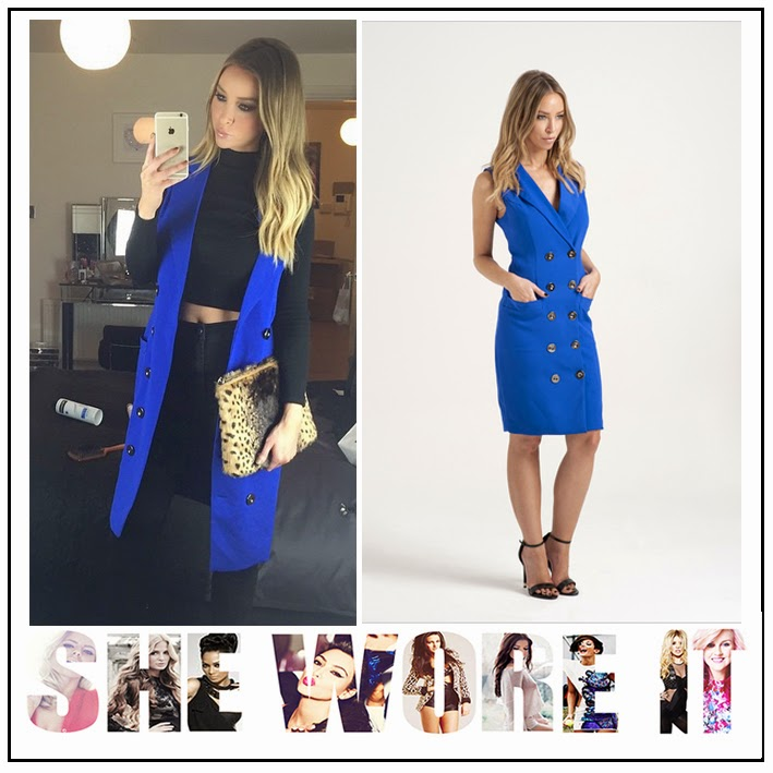 Blazer Dress, Blue, Bright, Button Detail, Celebrity Fashion, Collared, Double Breasted, Dress, In the Style, Jacket, Lauren Pope, Pockets, Sleeveless, Style, Tailored, The Only Way Is Essex, TOWIE, V-Neck,