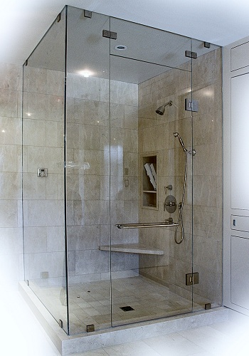 Right Angled Steam Enclosure Fancy Glass And Mirror