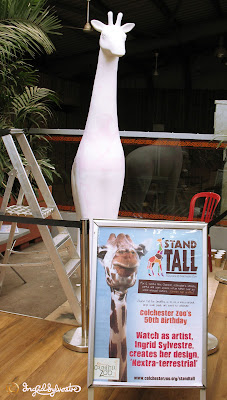 Nextra-terrestrial - Ingrid Sylvestre - Stand Tall for Giraffes at Colchester Zoo - first layer of paint