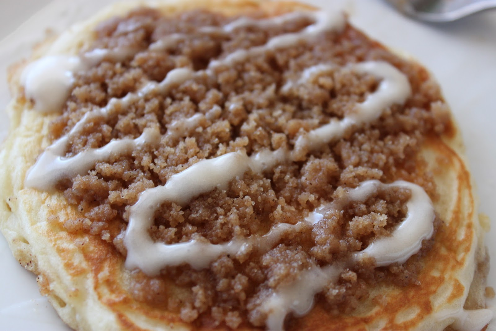 Cooper Cookin': Cinnamon Streusel Pancakes with Cream Cheese Drizzle