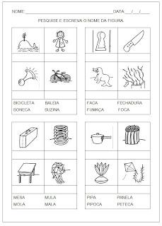 Hipótese de escrita silábica com valor sonoro - Pesquise e escreva o nome da figura