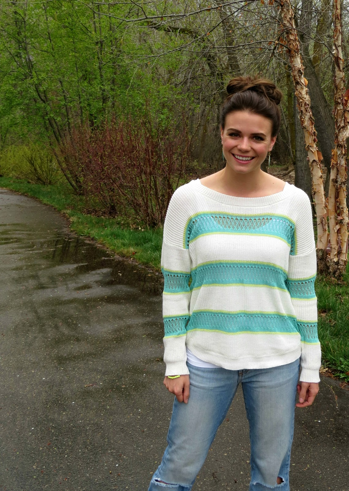topknot and striped mint sweater