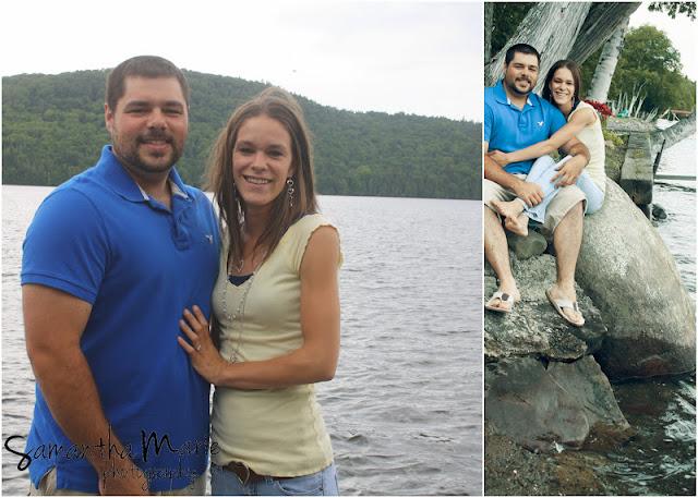 engaged couple at a lake