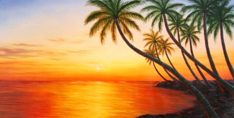 Arte pinturas leo paisajes con palmeras en la playa - Cuadros de atardeceres ...