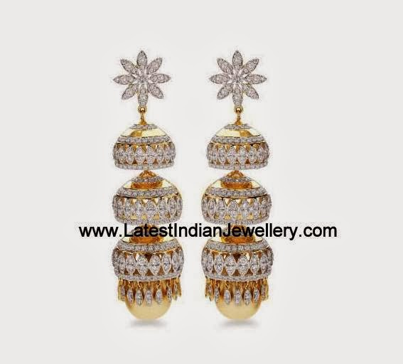 Triple Layered Diamond Jhumkis