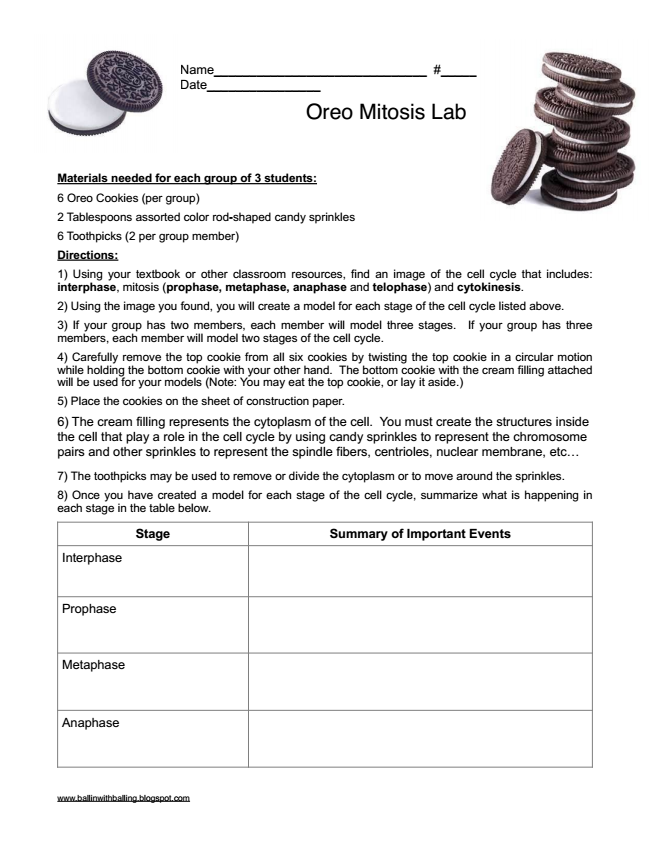 Ballin with Balling: Modeling Mitosis with Oreo Cookies 1e ...