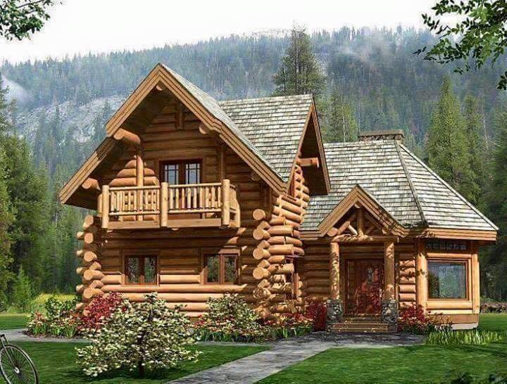 30 photos of log house or wood house style - Wooden vacation houses nature style ...