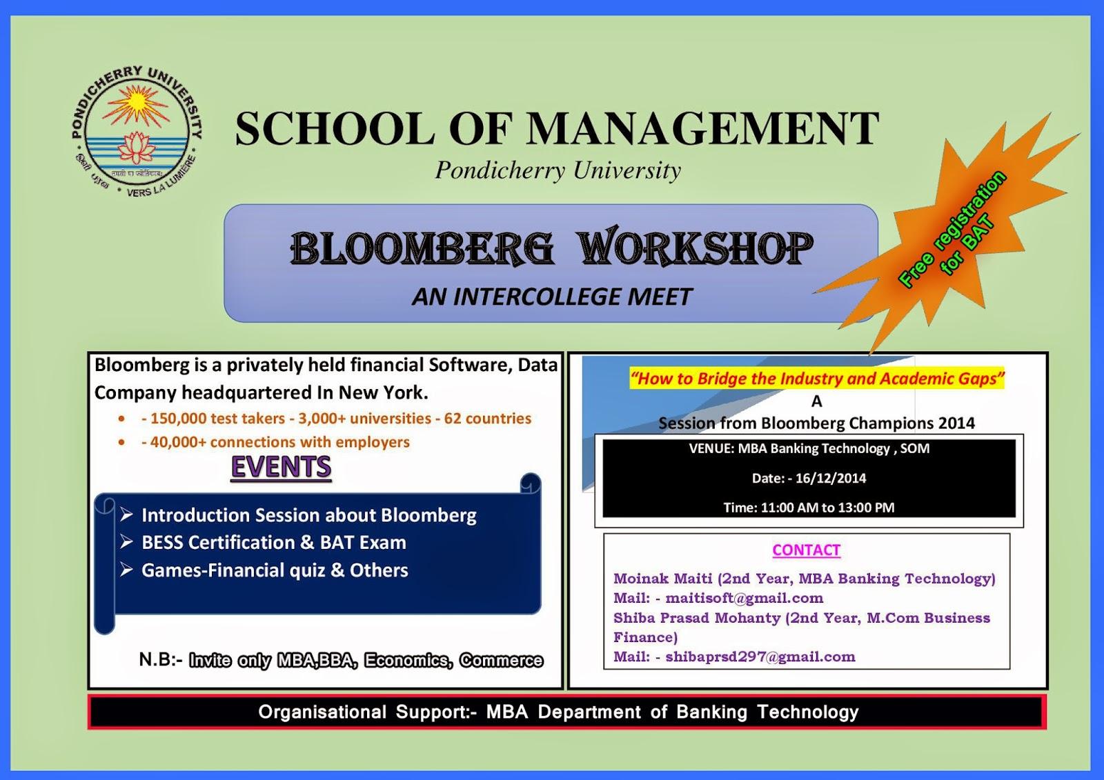 Economics Study Material Bloomberg Workshop In Pondicherry University