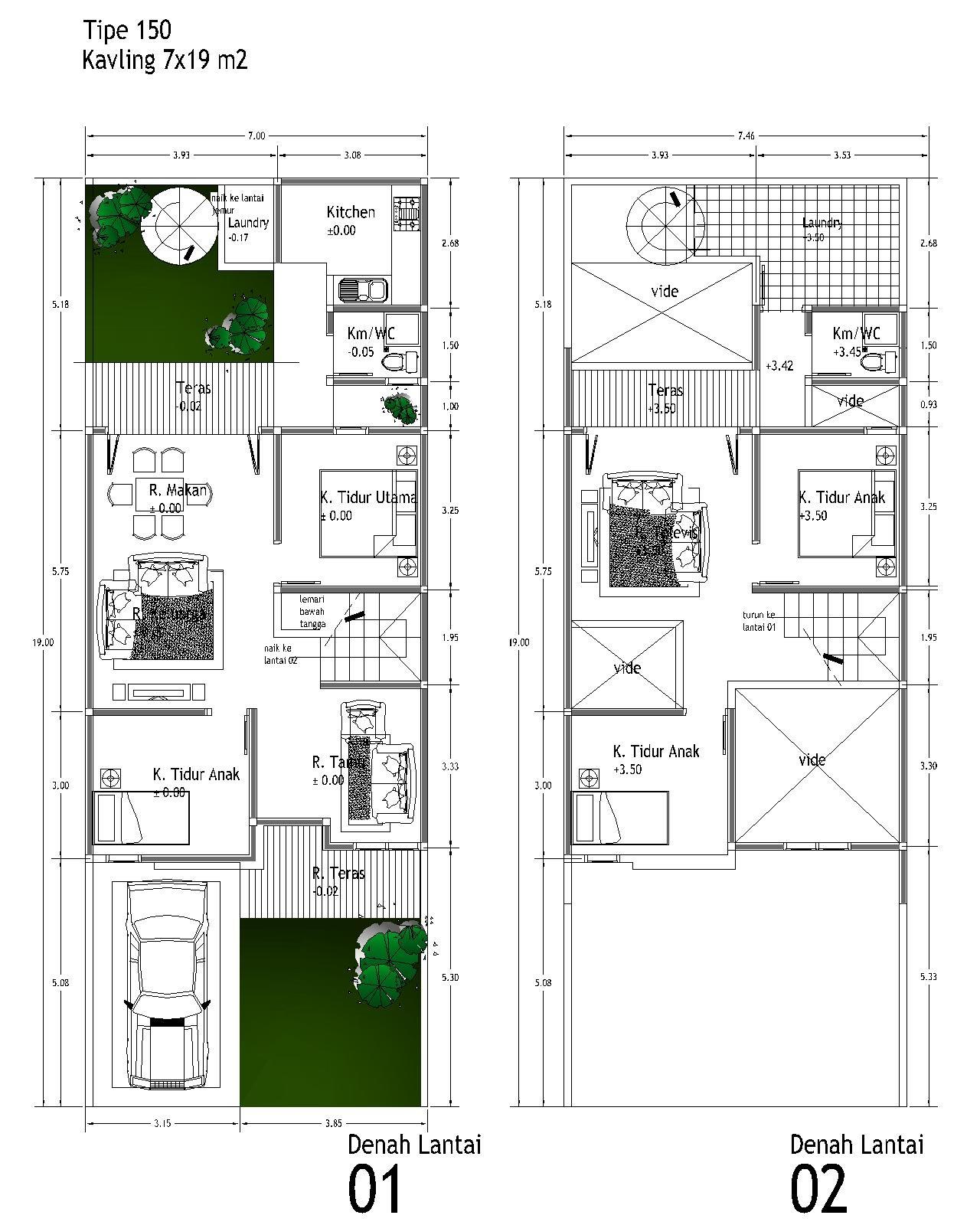 Sketsa Denah Rumah 2 Lantai Type 21 36 45 54 70 Minimalis 2014
