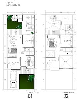 Denah rumah minimalis 2 lantai tipe 36