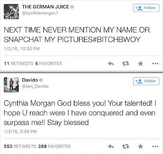 "Screenshots: Davido Backs Out As Cynthia Morgan Calls HKN Singer ""B!tch Boy"""