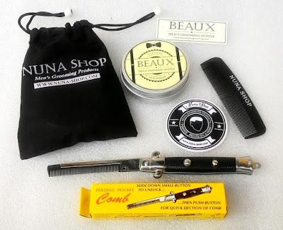 Paket Hemat Pomade Beaux Light + Switchblade Comb (SB) + Pouch + Stiker + Sisir Saku